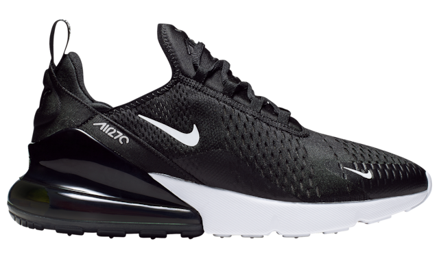 The Nike sneakers in black and white