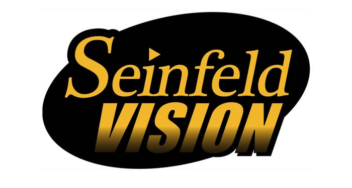 A black and yellow logo of the words Seinfeld Vision