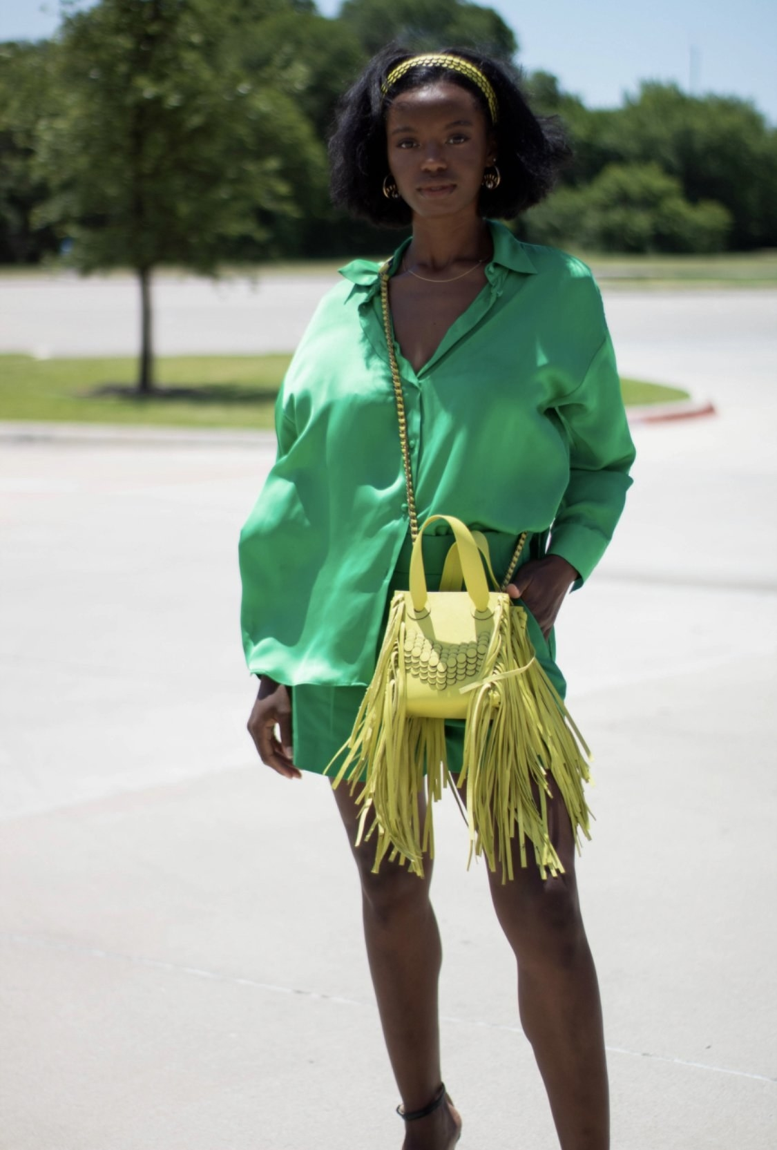The light green crossbody tote