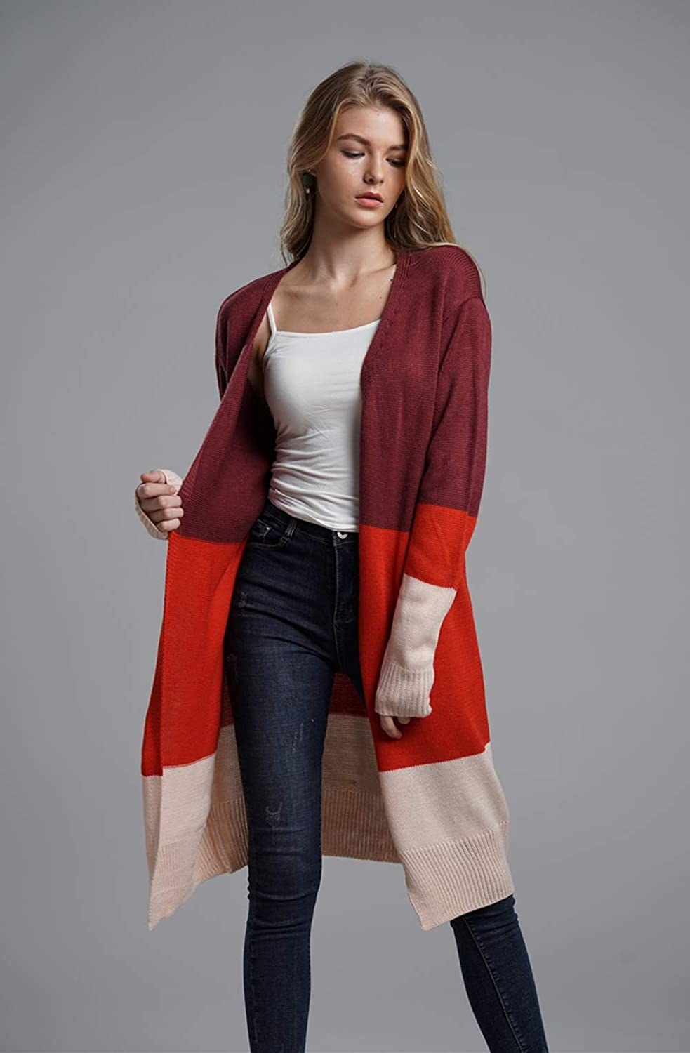 the cardigan with red maroon and beige block stripes