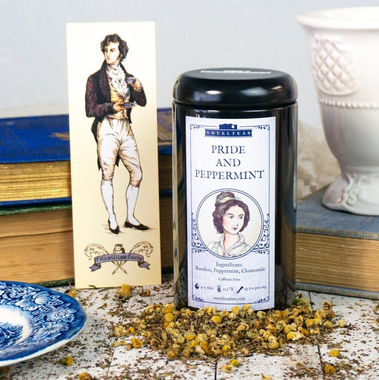 the tea tin and bookmark