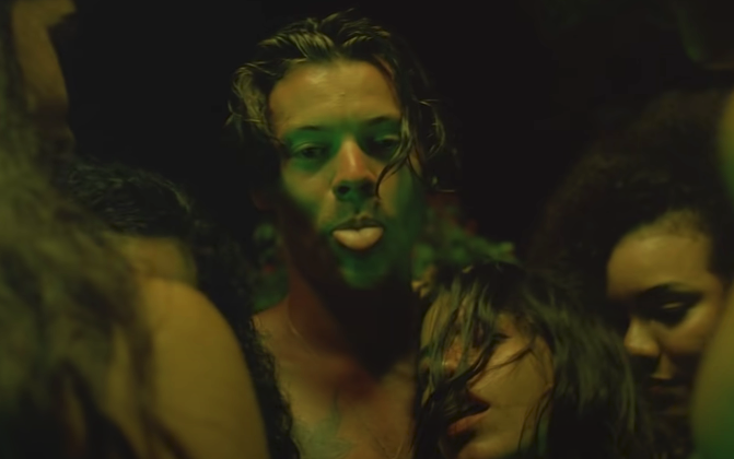 "Harry sticking his tongue out in the ""Lights Up"" music video"