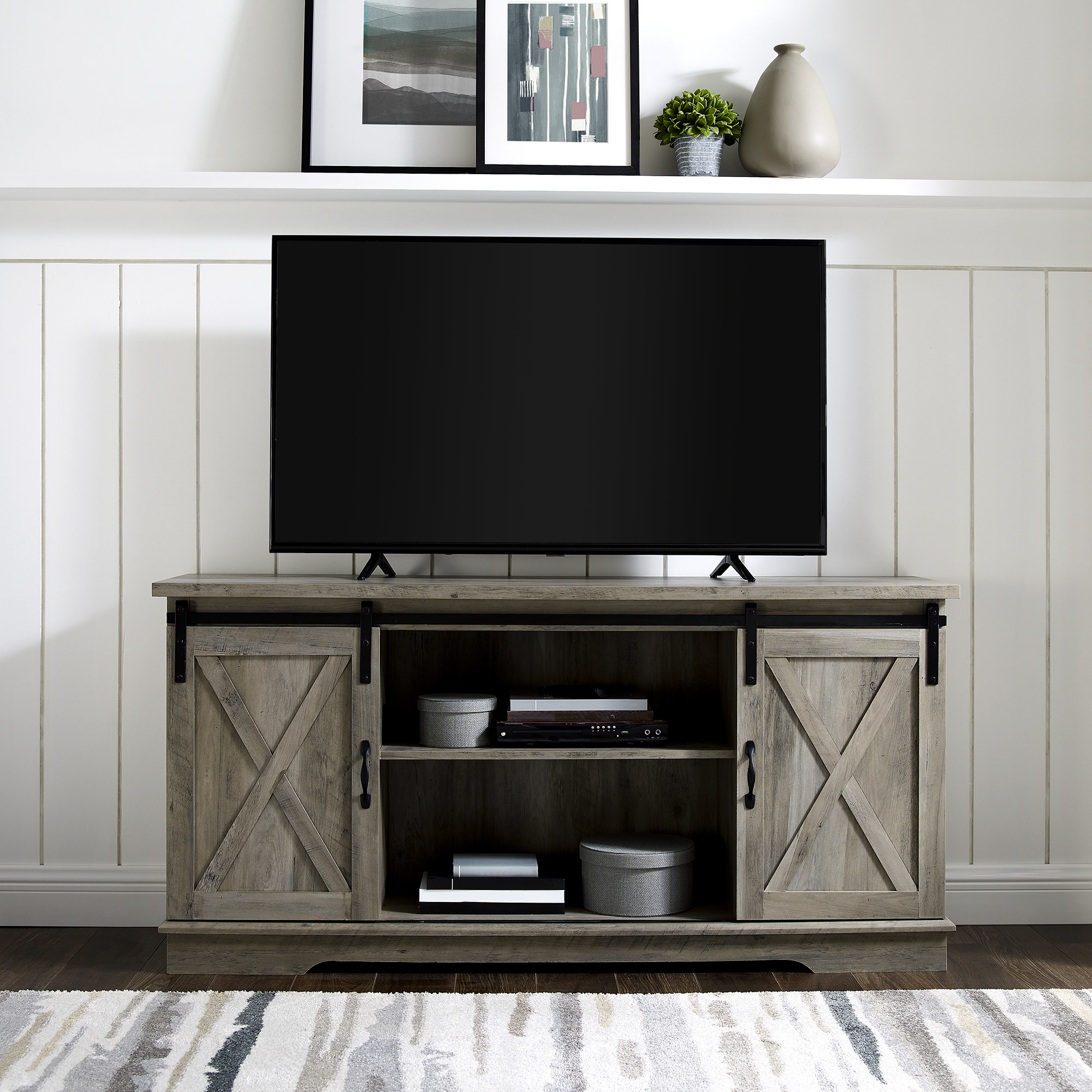 grey wash tv stand with sliding barn doors and two shelves