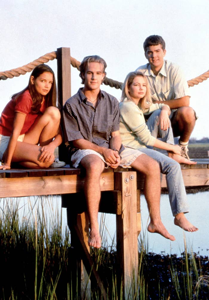Promo image form Dawson's Creek; they all look at the camera smiling