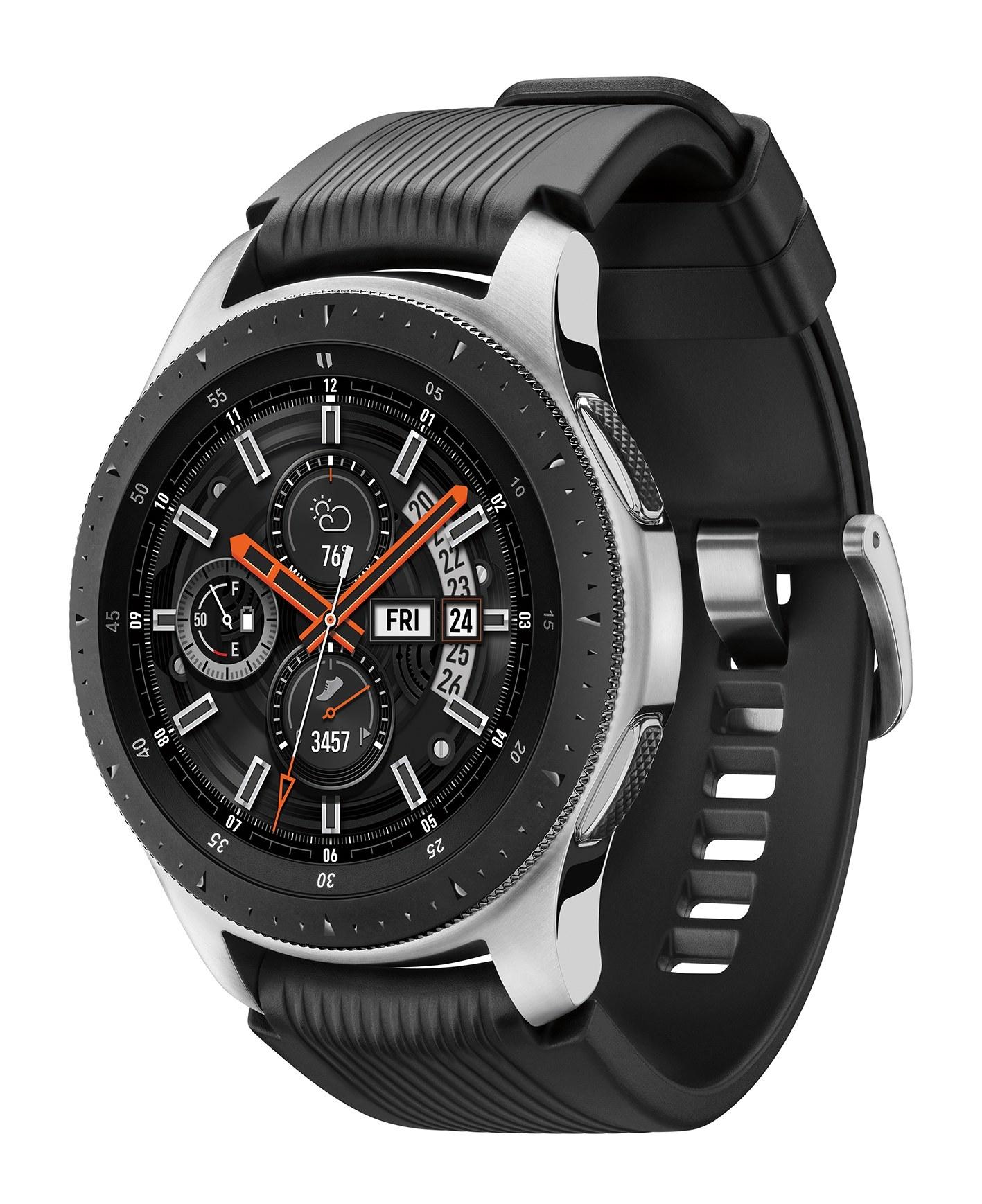 a black samsung galaxy smart watch with a sport band