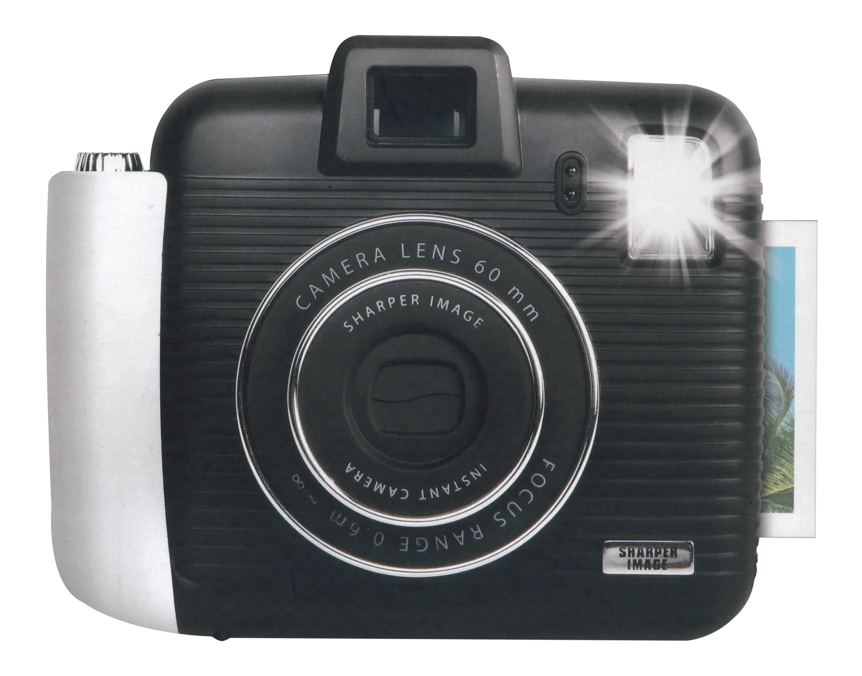 black shaper image instant camera with the flash on and a picture coming out