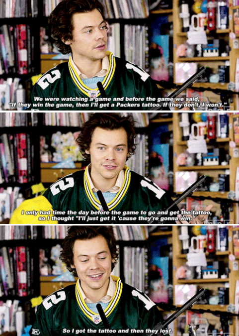 """Harry on """"NPR"""" explaining how he got his Green Bay Packers tattoo before the bet even started"""
