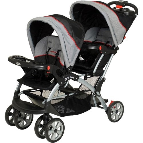 baby trend double stroller in a gray and black color