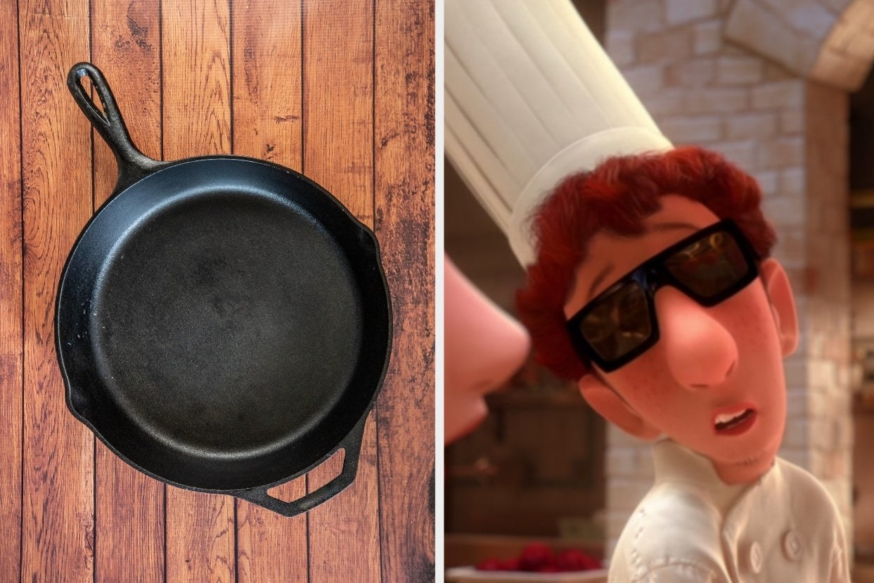 """Empty cast iron pan and Alfredo from """"Ratatouille"""" wearing sunglasses and chef's hat"""