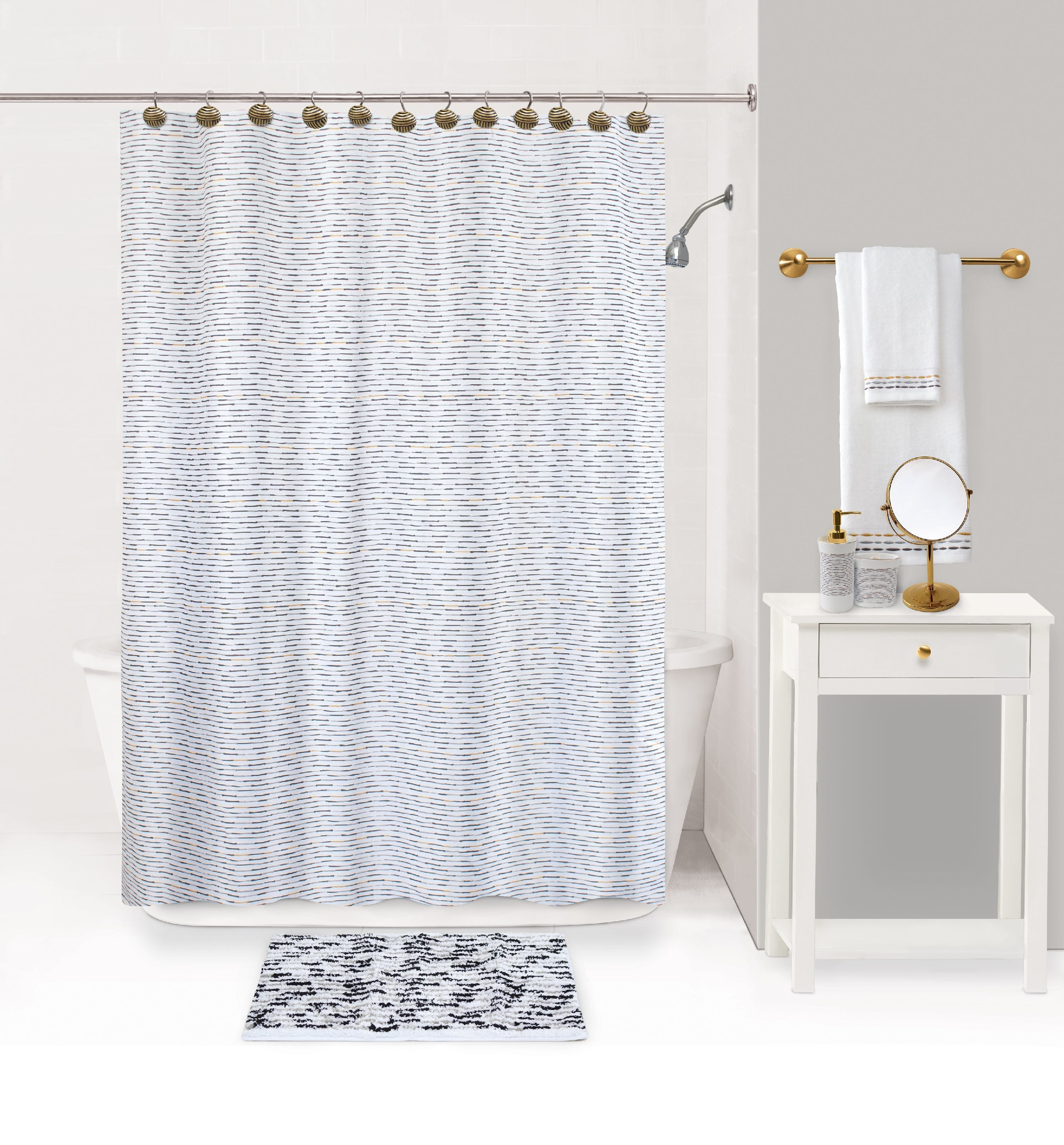 bathroom with a shower curtain, rug, and accessories in it