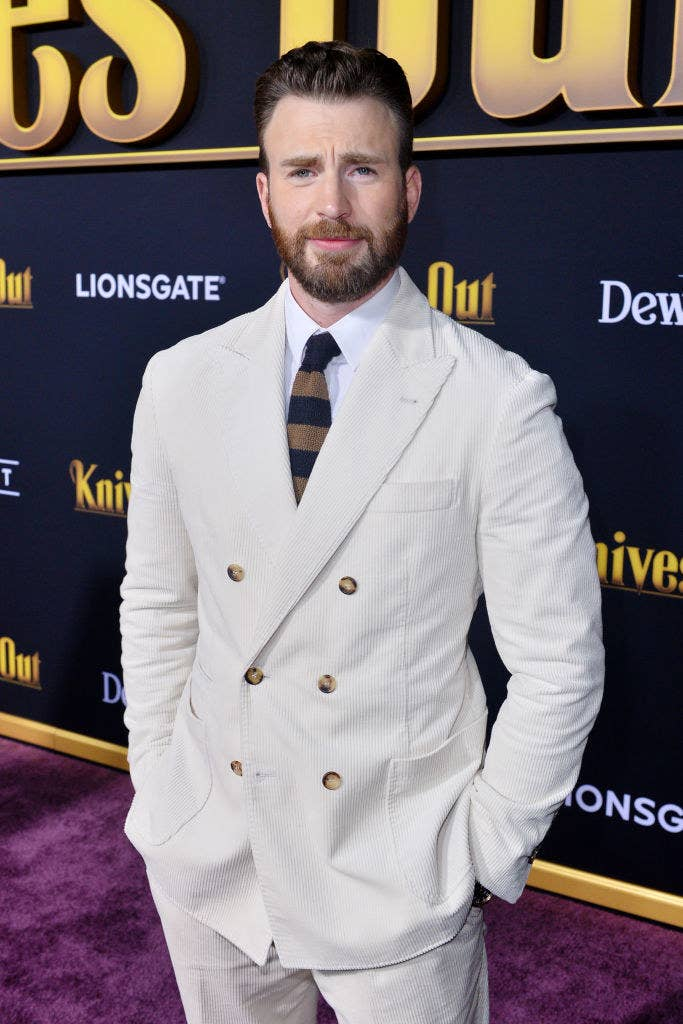 Chris on the red carpet for a premiere of his film Knives Out