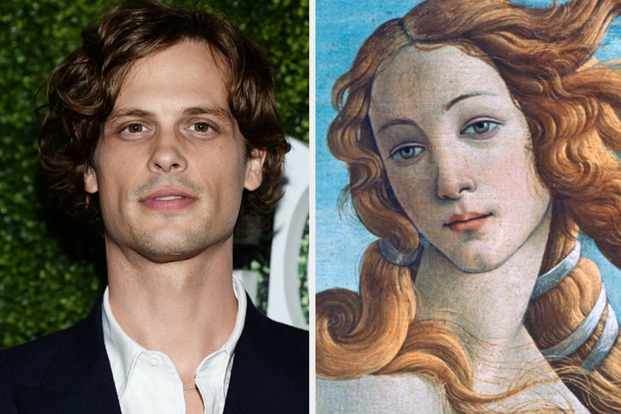 Matthew Gray Gubler and painting of the birth of venus