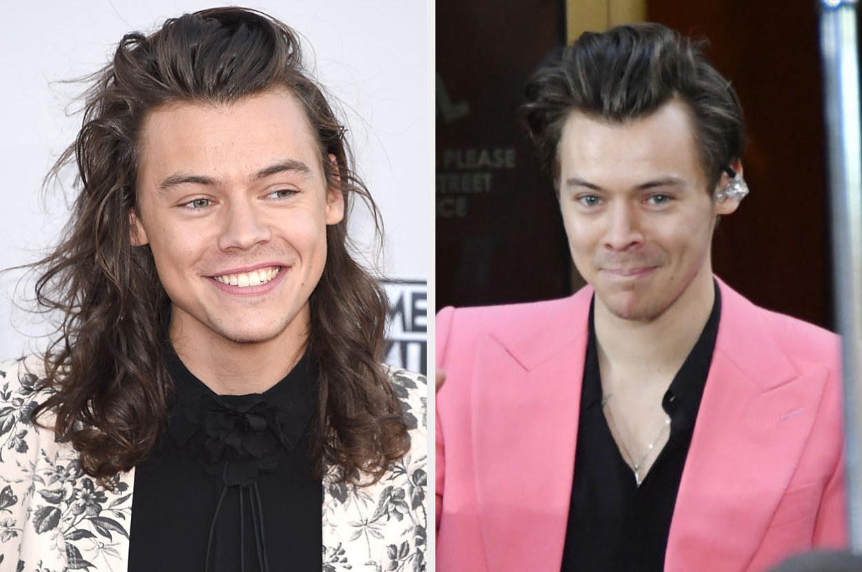 Harry on a red carpet in 2015 with long hair; Harry in 2017 with shorter hair above his ears