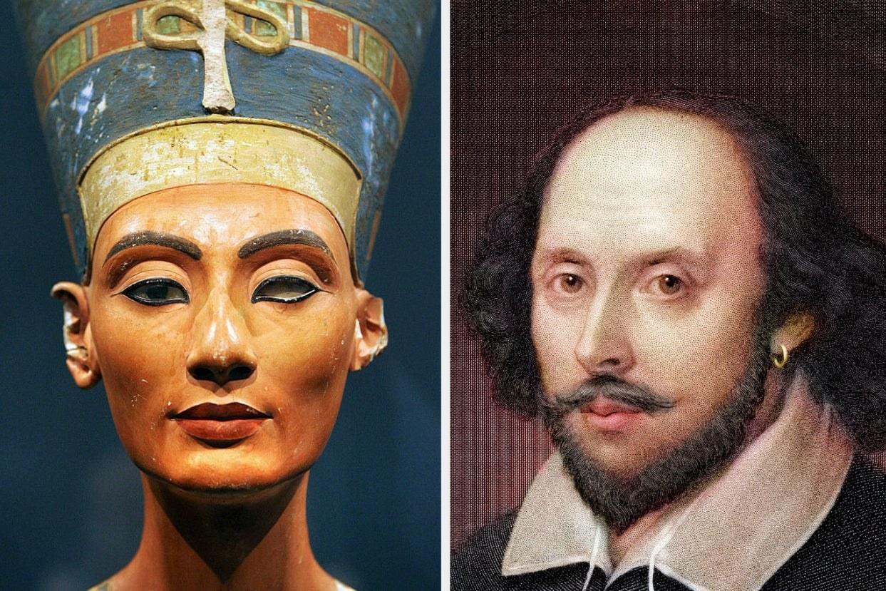 Nefertiti sculpture and Shakespeare print