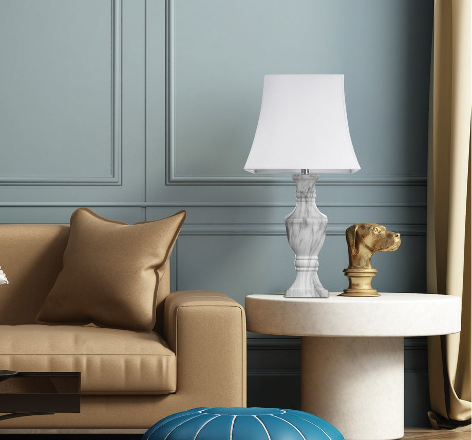faux marble lamp base with a white lamp shade on top