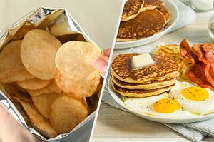 On the left, an open potato chip bag, and on the right, a plate with pancakes, bacon, hash browns, and fried eggs