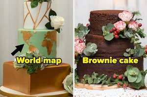 A wedding cake with a world map on it, and a wedding cake made of brownies