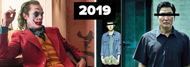 带有2019年标签的小丑和寄生虫海报