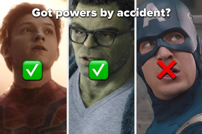 Spider-Man, Hulk, and Captain America from the MCU, with text asking which of them got their powers by accident