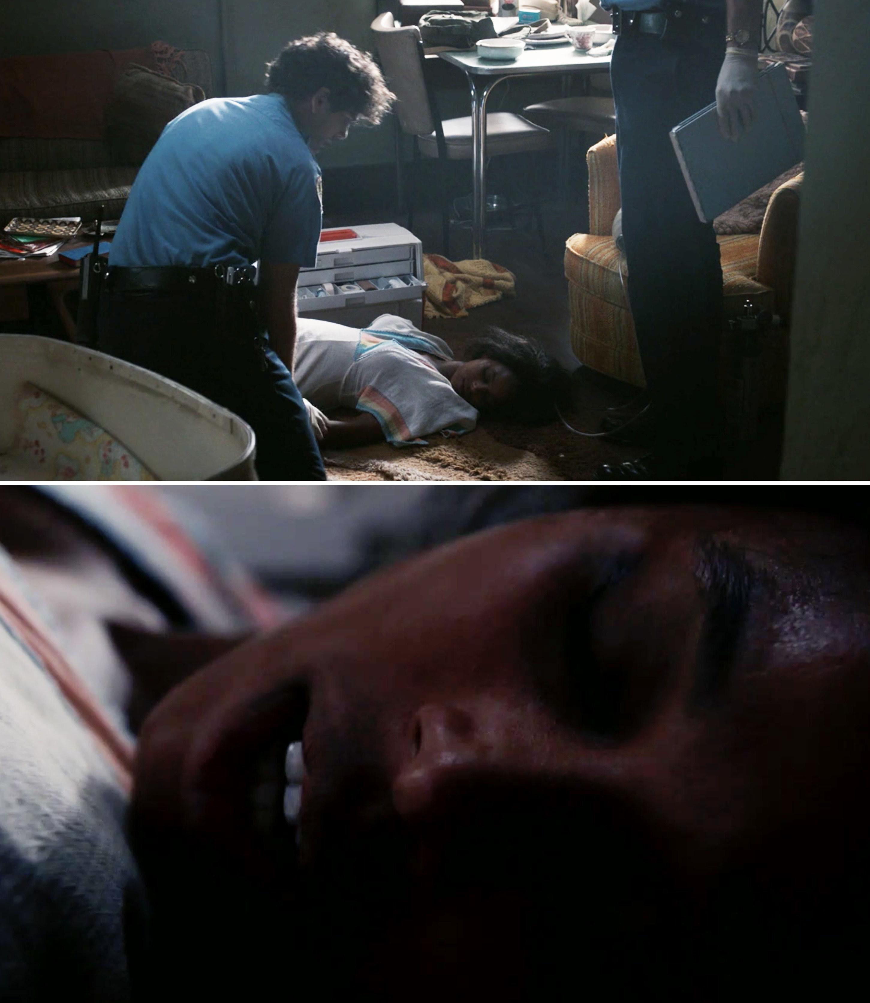 Laurel being helped by EMTs and breathing again
