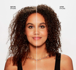 A person with a before and after of their curls looking limp and then looking hydrated