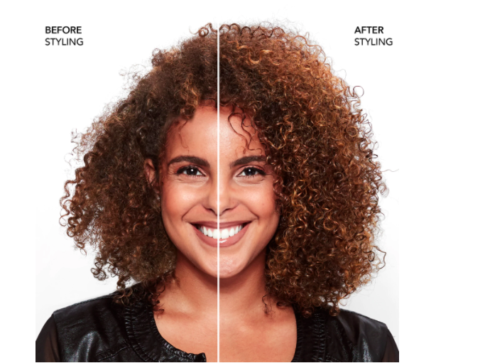 A person with a before and after of their curls looking frizzy and then looking hydrated