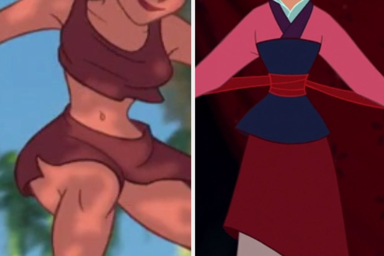 """Jane's brown two piece from """"Tarzan"""" and Mulan's matchmaking outfit from """"Mulan"""""""
