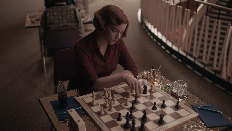 Anya Taylor-Joy as Beth playing chess