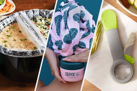 A slow cooker with plastic liners inside, A person wearing a towel around their hair and a holding hair mask container, An avocado slicing tool with a spatula on one end, a pitting tool on the other and a retractable knife on the side