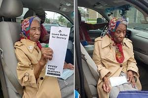 一个老女人与她的选票进行投票