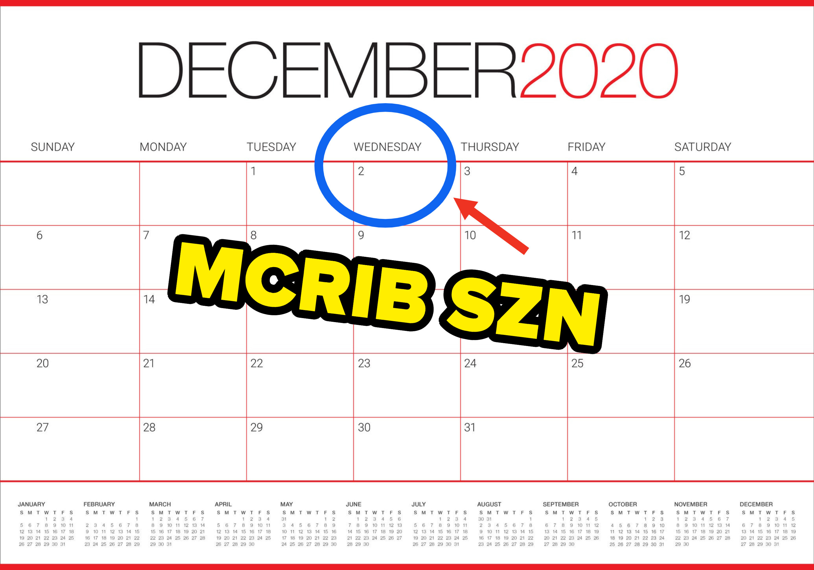 Calendar pointing out that Dec. 2 is the start of McRib season
