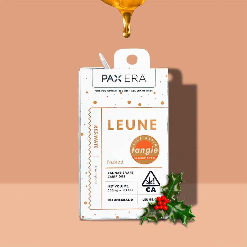 Product image of Leune vape cartridge beside a holly leaf