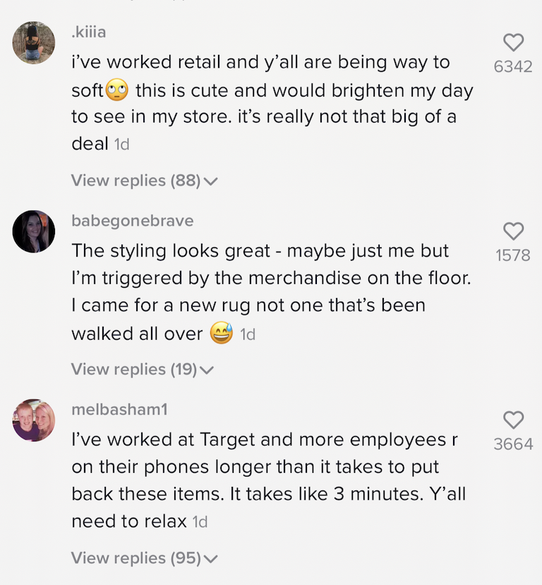 Another example of the comments: 'i've worked retail and y'all are being way to soft [rolling eyes emoji] this cute and would brighten my day to see in my store. it's really not that big of a deal'