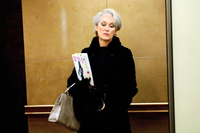 Meryl Streep waiting in an elevator in The Devil Wears Prada