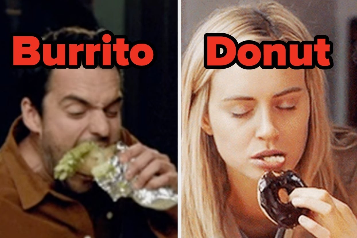 """Nick from """"New Girl"""" eating a burrito and Piper from """"Orange is the New Black"""" eating a donut"""