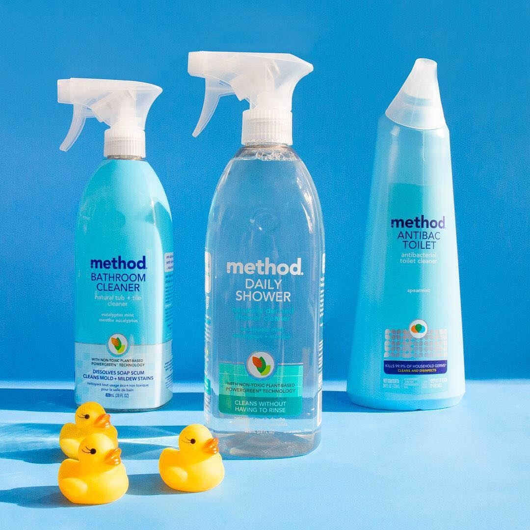the shower spray bottle, as well as the brand's bathroom cleaner and antibac toilet cleaner