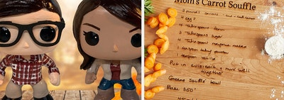 Personalized Funk Pop! toys and personalized cutting board with a recipe