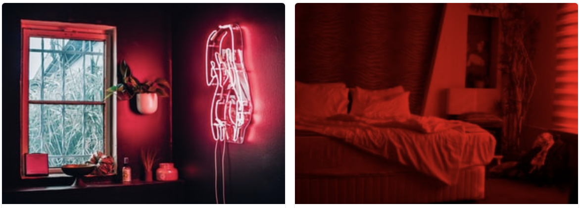 Two red-themed bedrooms with red lighting and furnishings