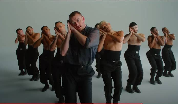 "A scene from Sam Smith's ""How Do You Sleep?"" music video"