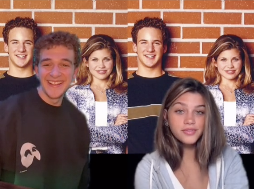 Cory and Topanga lookalikes duetting each other.