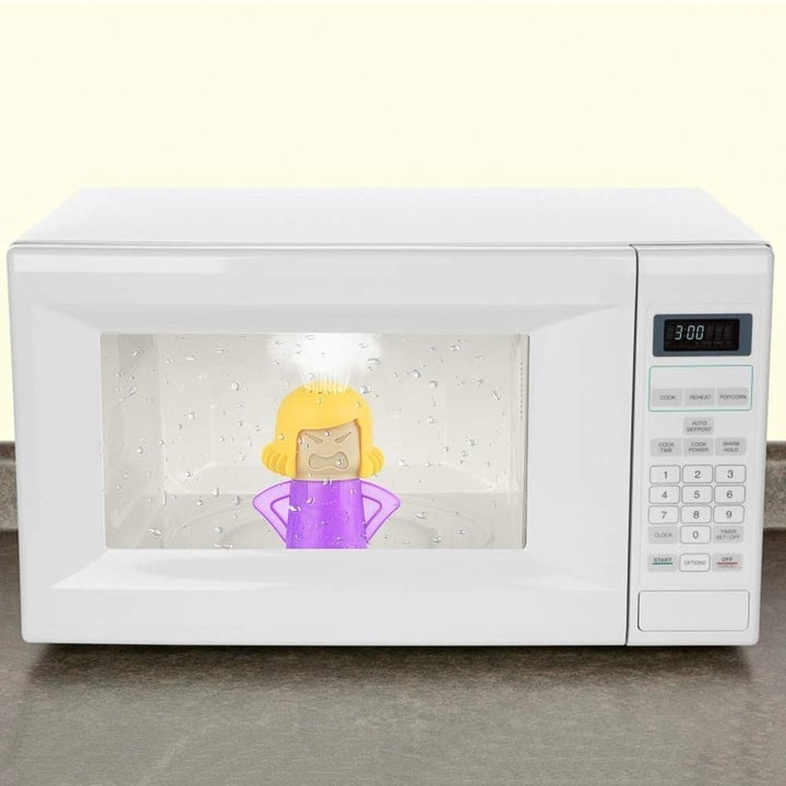 Angry Mom Microwave Cleaner in microwave with steam rising from the top