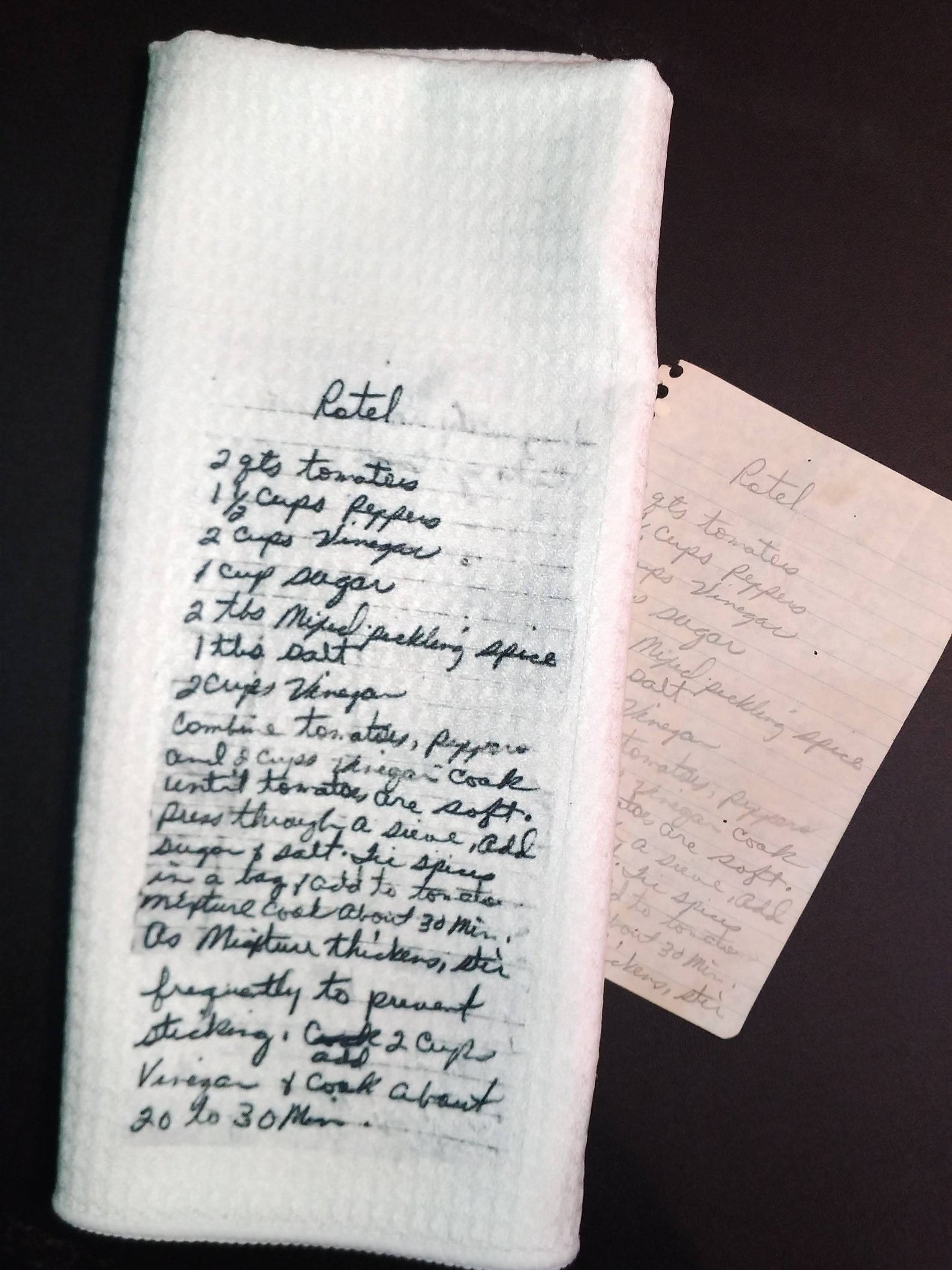 a tea towel with a recipe transffered onto it
