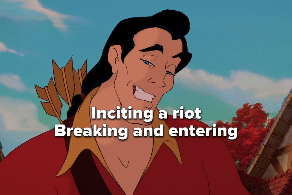 """Gaston from """"Beauty and the Beast"""" with a list of his crimes, including inciting a riot"""
