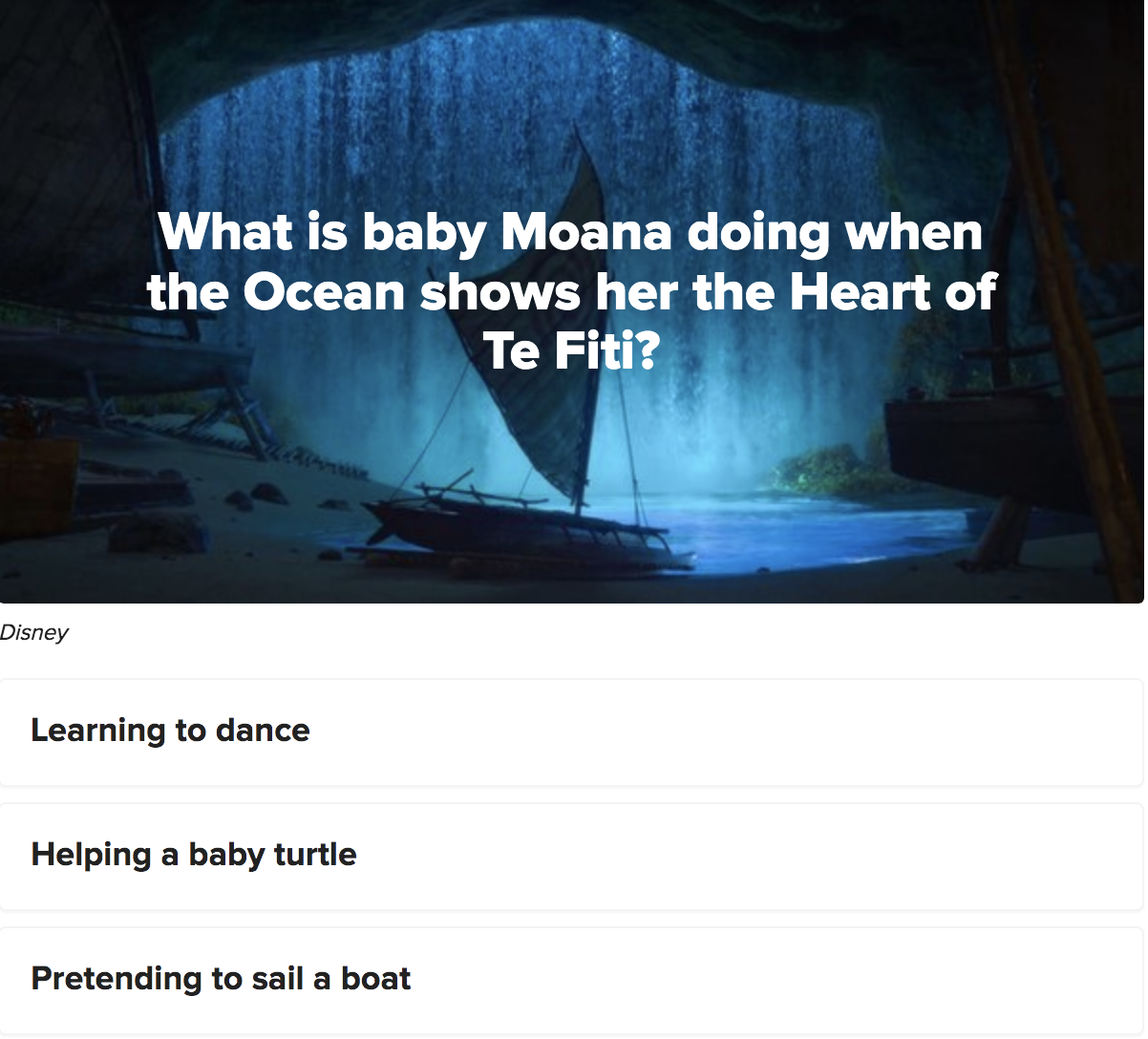 A question asking what baby Moana was doing when the ocean shows her the heart of Te Fiti