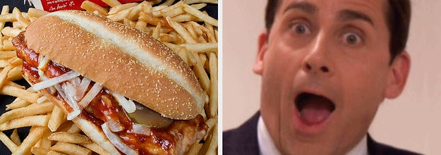The McRib next to a shocked Michael Scott from