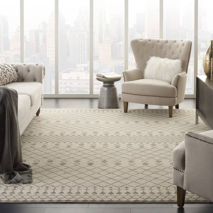 A cream Moroccan rug in a living space
