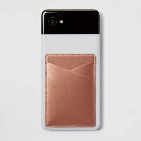 the rose gold stick on wallet on back of phone case