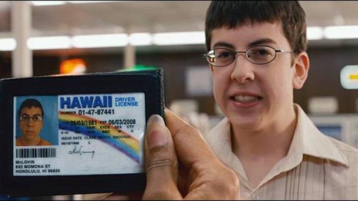 """Scene from the movie """"Superbad"""" of McLovin getting carded."""