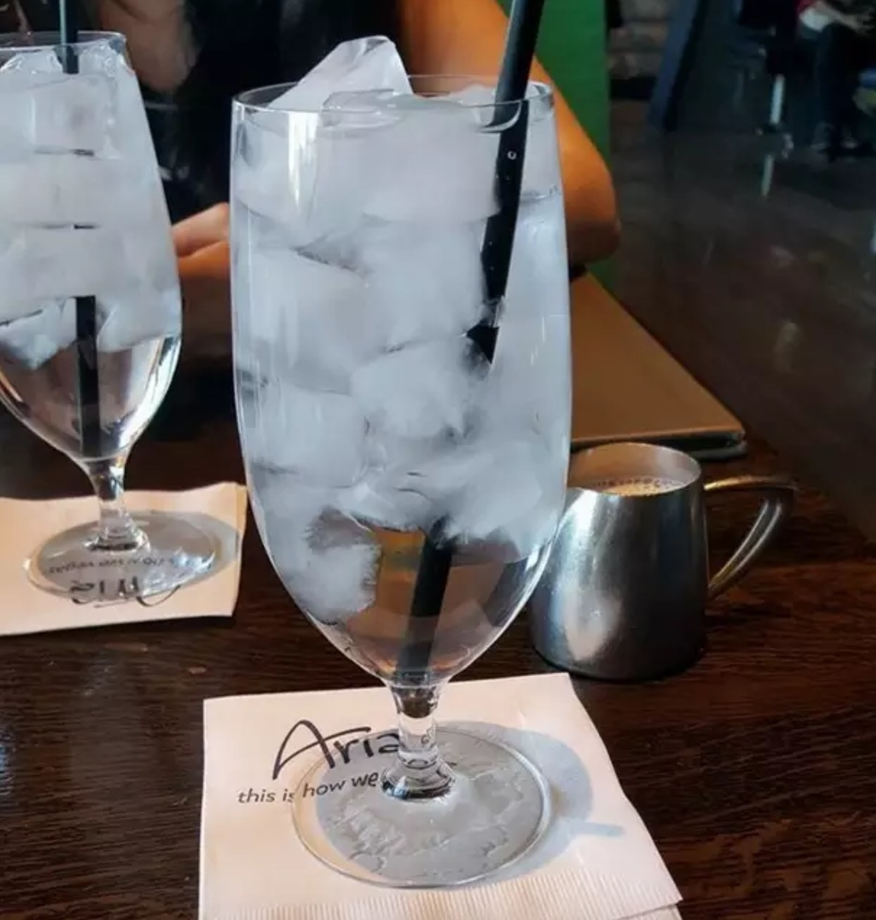 Picture of a glass of water filled with ice cubes