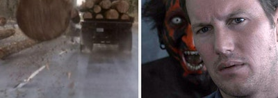 The car wreck scene from Final Destination 2 side-by-side with the red man scene from Insidious